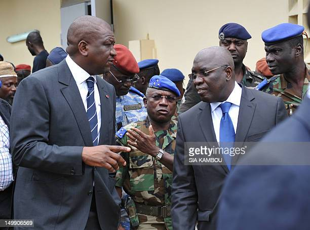 Ivory Coast's military Chief of Staff Soumaila Bakayoko Interior Minister Hamed Bakayoko and Defence Minister Paul Koffi Koffi visit the Akouedo...