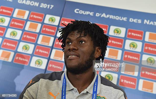 Ivory Coast's national football team player Franck Kessie attends a press conference on January 15 2017 at the Oyem Stadium on the eve of their match...