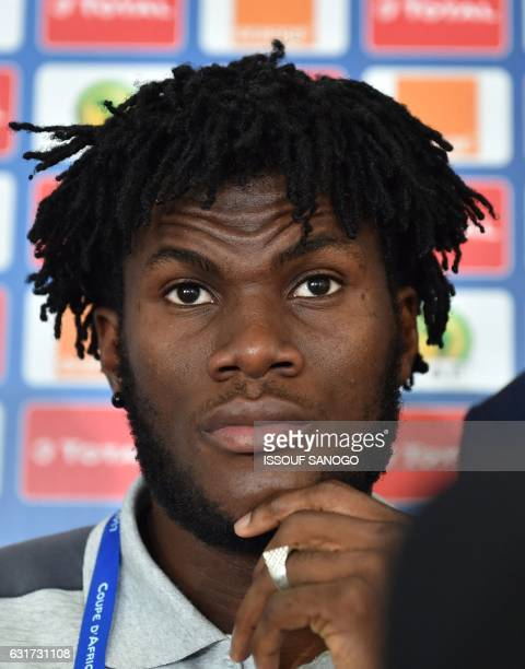 Ivory Coast's national football team player Franck Kessie looks on during a press conference on January 15 2017 in Oyem during the 2017 Africa Cup of...