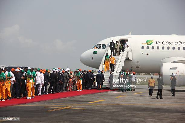 Ivory Coast's national football team players are welcomed upon their arrival at Felix Houphouet Boigny Airport in Abidjan Ivory Coast on February 9...