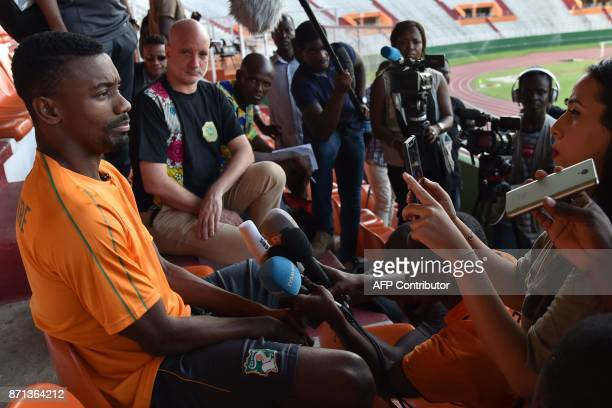 Ivory Coast's national team player Salomon Kalou speaks to journalists prior to a training session on November 7, 2017 at the Felix Houphouet-Boigny...