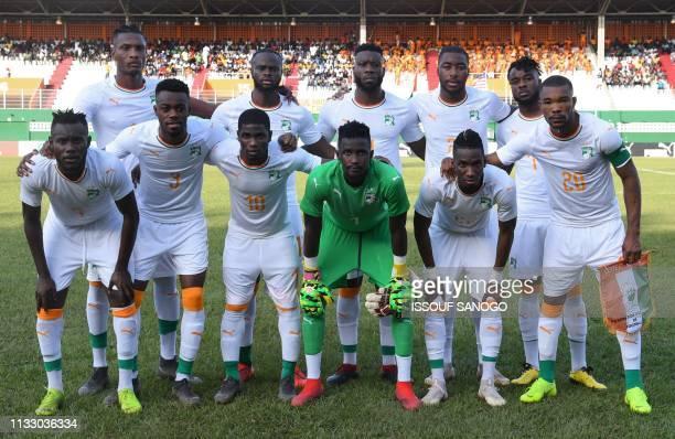 Ivory Coast's players Ivorian midfielder Victorien Angban Ivorian defender Abdoulaye Bamba Ivorian forward Roger Assale Ivorian goalkeeper Abdoul...