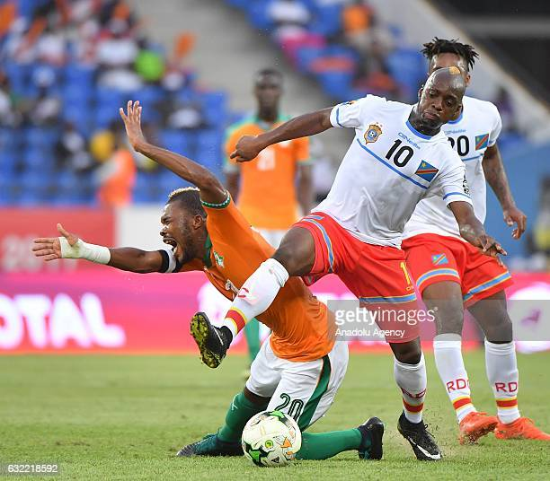 Ivory Coast's Serey Die vies for the ball against Republic of the Congo's Kebano during the African Cup of Nations Group C soccer match between Ivory...