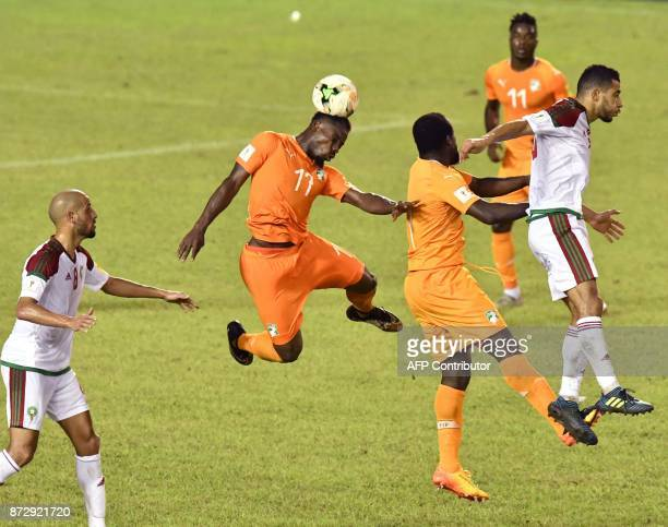 Ivory Coast's Serge Aurier vies during the FIFA World Cup 2018 Africa Group C qualifying football match between Ivory Coast and Morocco at the Felix...