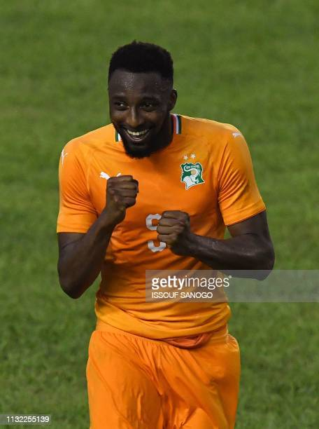 Ivory Coast's Serge Wilfried Kanon reacts during the 2019 African Cup of Nations Group H qualification football match between Ivory Coast and Rwanda...