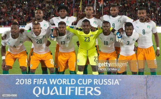 Ivory Coast's starting eleven striker Giovanni Sio midfielder Franck Kessie forward Jonathan Kodjia defender Wilfried Kanon forward Salomon Kalou...