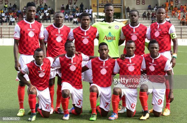 Ivory Coast's Williasmville Athletic club's team players poses prior to the CAF Champions league football match between Williamsville Athletic Club...