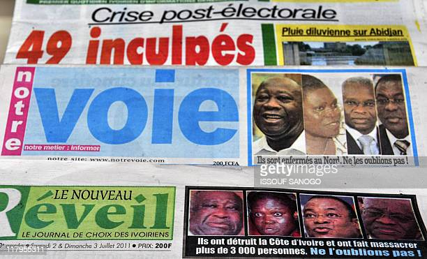Ivory coats newspapers' front pages show pictures of close aides of former president Laurent Gbagbo on July 2 2011 in Abidjan after international...