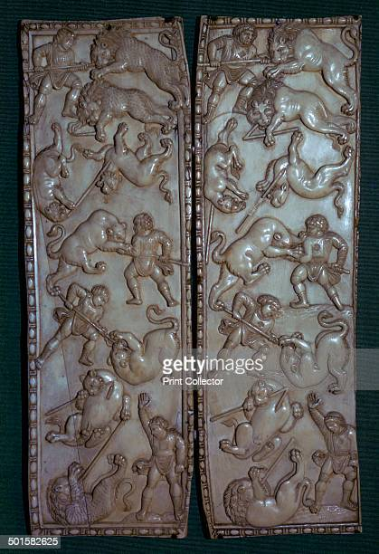 Ivory diptych from Constantinople showing men fighting lions at games Now in the Hermitage Museum in St Petersburg 6th century