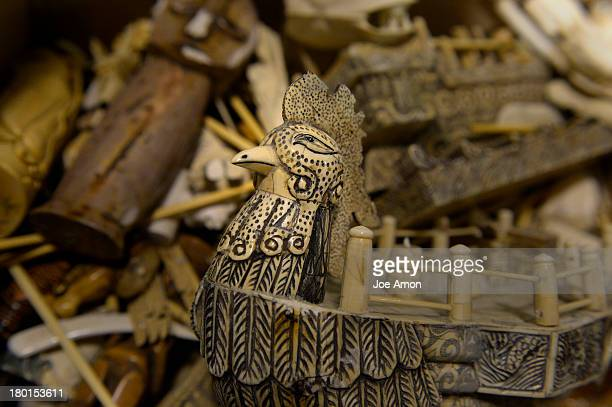 Ivory figurines raw polished and carved tusks will be part of an estimated 6 tons of confiscated ivory that will be crushed in October by the US Fish...