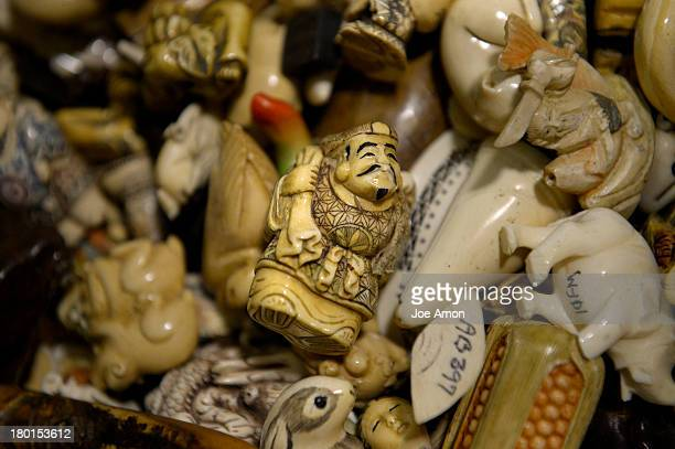 September 09: Ivory figurines, raw, polished and carved tusks will be part of an estimated 6 tons of confiscated ivory that will be crushed in...