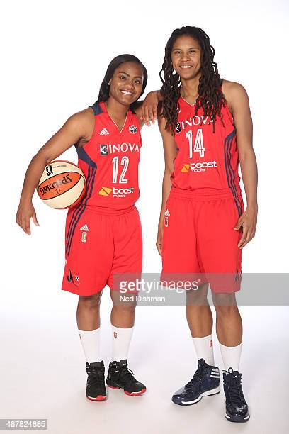 Ivory Latta and Tierra RuffinPratt of the Washington Mystics pose for a photo during 2014 Washington Mystics media day at the Verizon Center on April...