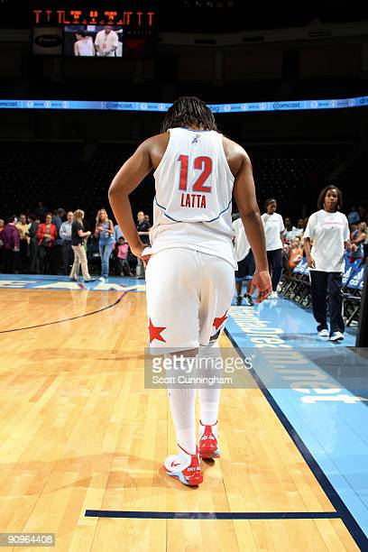 Ivory Latta of the Atlanta Dream heads off the court after Game Two of the WNBA Eastern Conference Semifinals against the Detroit Shock at Gwinnett...