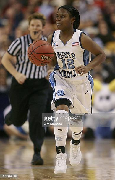 Ivory Latta of the North Carolina Tar Heels brings the ball down the court against the Maryland Terrapins during the 2006 Women's NCAA Basketball...