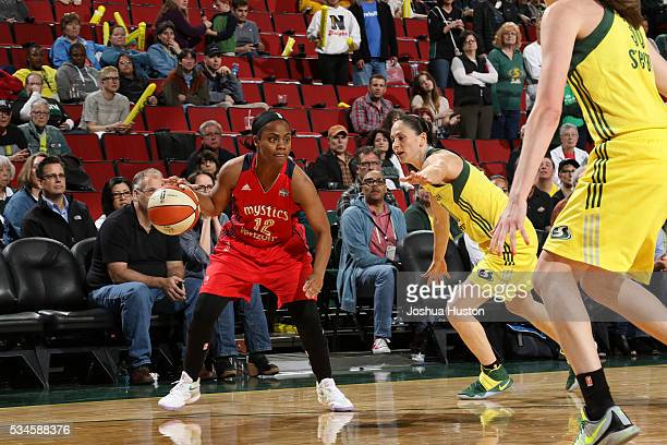 Ivory Latta of the Washington Mystics drives to the basket against the Seattle Storm during the game on May 26 2016 at Key Arena in Seattle...