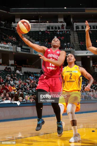 Ivory Latta of the Washington Mystics goes for a lay up during the game against the Indiana Fever during a WNBA game on August 20 2017 at Bankers...