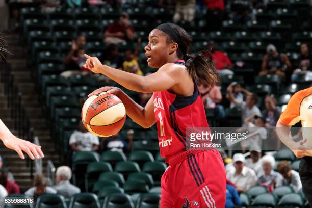 Ivory Latta of the Washington Mystics handles the ball during the game against the Indiana Fever during a WNBA game on August 20 2017 at Bankers Life...