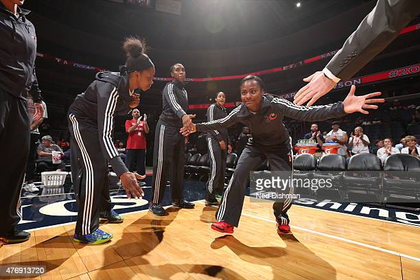 Ivory Latta of the Washington Mystics is introduced before the game against the Atlanta Dream in a WNBA game at the Verizon Center on June 12 2015 in...