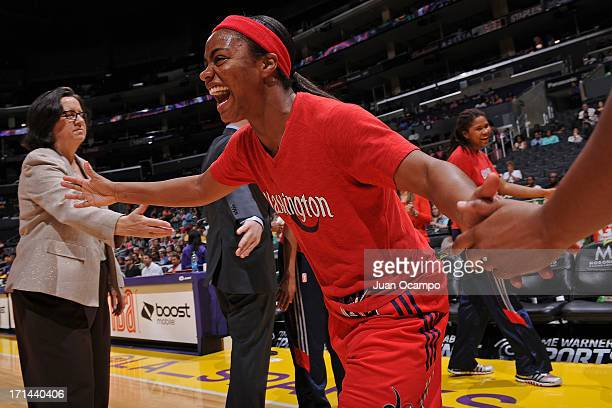 Ivory Latta of the Washington Mystics runs out before the game against the Los Angeles Sparks at Staples Center on June 23 2013 in Los Angeles...