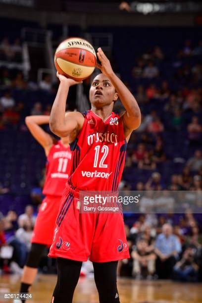 Ivory Latta of the Washington Mystics shoots a free throw during the game against the Phoenix Mercury on July 5 2017 at Talking Stick Resort Arena in...