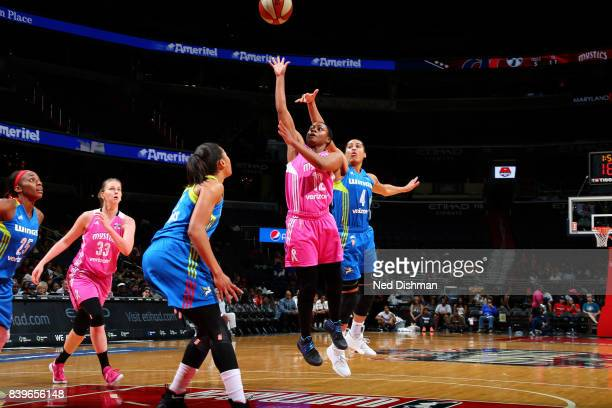 Ivory Latta of the Washington Mystics shoots the ball during the game against the Dallas Wings during a WNBA game on August 26 2017 at the Verizon...