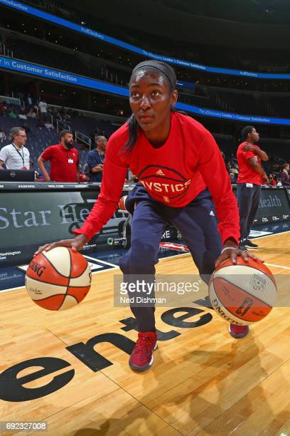 Ivory Latta of the Washington Mystics warms up before the game against the Chicago Sky on May 26 2017 at the Verizon Center in Washington DC NOTE TO...