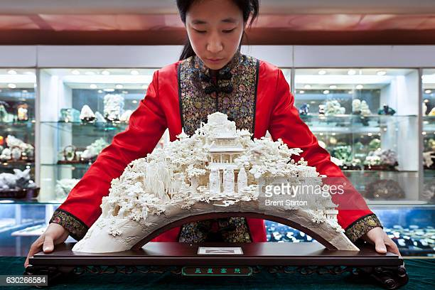 Ivory on sale at government registered White Peacock Arts World Beijing China November 15 2011 Exquisitely carved large pieces of approximately one...