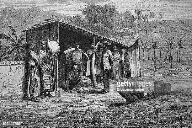 Ivory traders on the west coast of africa historical woodcut circa 1870