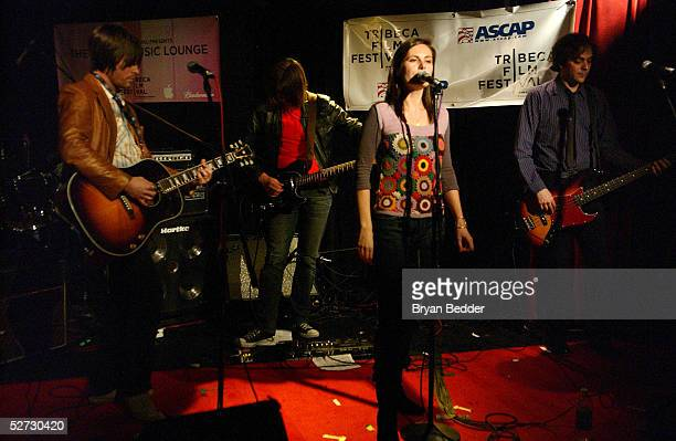 Ivy Band members Andy Chase Dominique Durand and Adam Schlesinger perform during the Tribeca Film Festival Music Panel at The ASCAP Lounge The ASCAP...