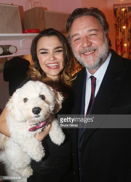 'Ivy Barks' Samantha Barks and Russell Crowe pose backstage at the hit musical based on the film 'Pretty Woman' on Broadway at The Nederlander...