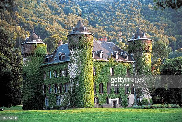 Ivy covering a castle Sedaiges Castle Auvergne France