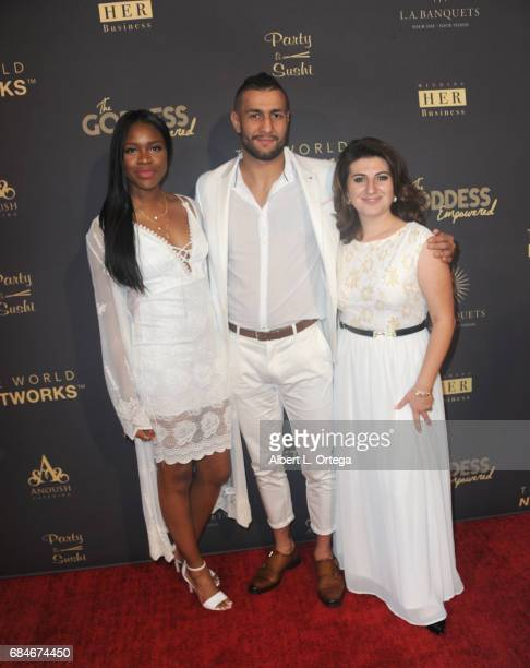 Ivy Ejam UFC fighter Mehdi Badhad and Lousine Karibian arrive for The World Networks Presents Launch Of The Goddess Empowered held at Brandview...