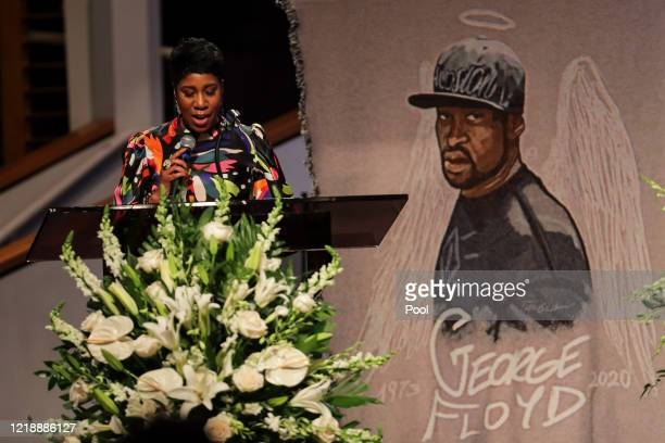 Ivy McGregor reads a resolution during the private funeral for George Floyd at The Fountain of Praise church on June 9 2020 in Houston Texas Floyd...