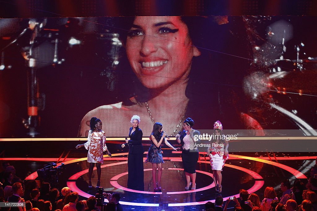 Ivy Quainoo,Ina Mueller,Dionne Bromfield, Caro Emerald and Aura Dione perform a Tribute to Amy Winehouse at the Echo Awards 2012 at Palais am Funkturm on March 22, 2012 in Berlin, Germany.