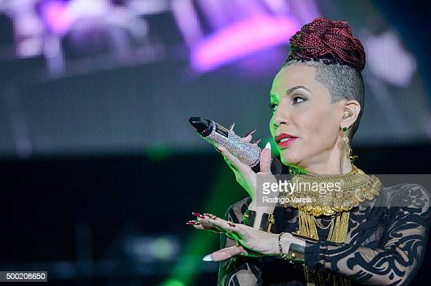 Ivy Queen on stage at Grand Slam Party Latino at Marlins Park on December 5 2015 in Miami Florida