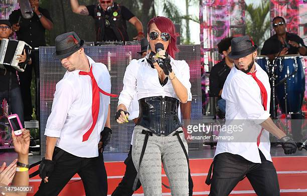Ivy Queen performs during Univision's Despierta America concert series at Univision Studios on July 6 2012 in Miami Florida