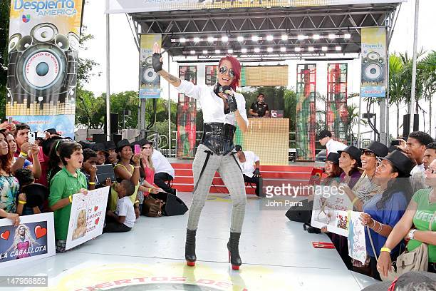 Ivy Queen performs during Univision's Despierta America concert series at Univision Studio on July 6 2012 in Miami Florida