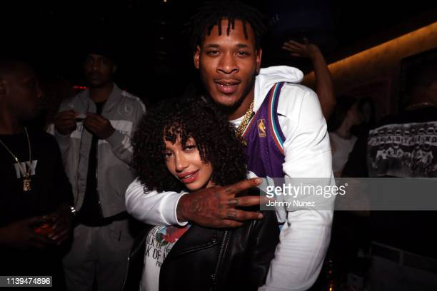 Ivy Rivera and Derrick Jones attend the NFL Draft viewing party hosted By Wale, Le'Veon Bell and Derrick Jones at Pomona on April 25, 2019 in New...