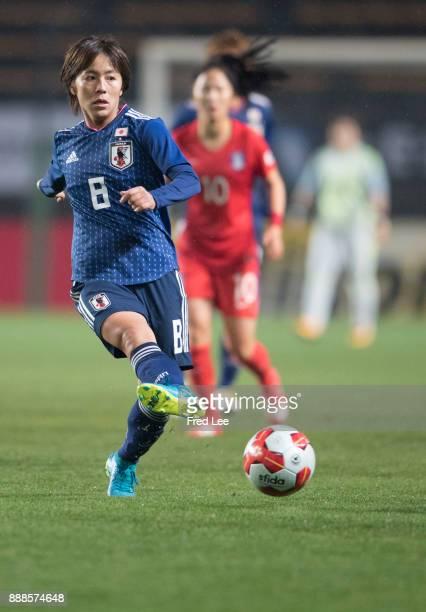 Iwabuchi Mana of Japan and Shin Damyeong of South Korea in action during the EAFF E1 Women's Football Championship between Japan and South Korea at...