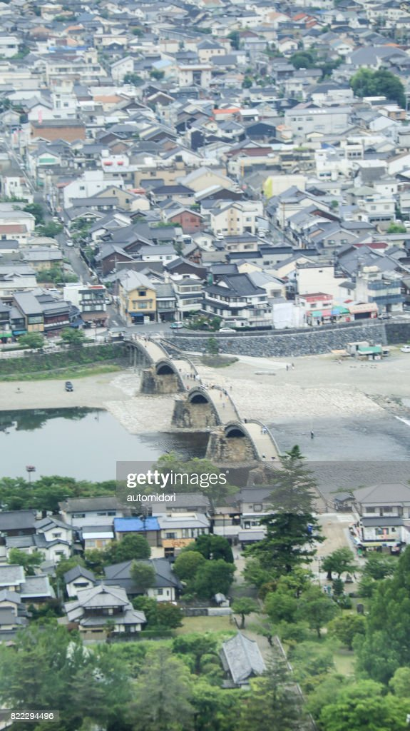 Iwakuni Cityscape and Kintai Bridge : Stock Photo