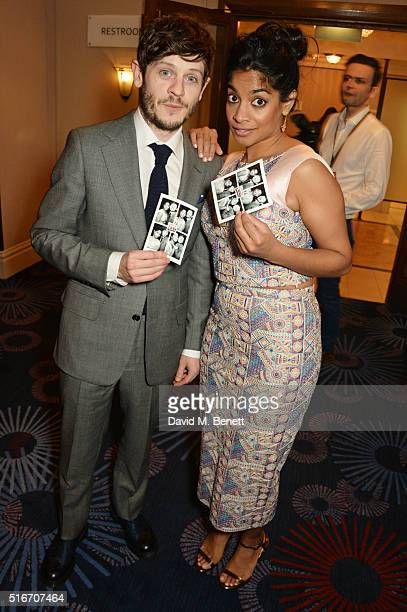 Iwan Rheon and Amara Karan pose in the winners room at the Jameson Empire Awards 2016 at The Grosvenor House Hotel on March 20, 2016 in London,...