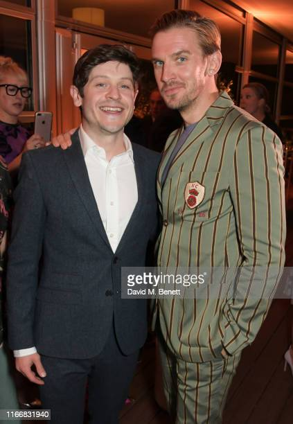 Iwan Rheon and Dan Stevens attend the ATG Summer Party at Kensington Palace Gardens in celebration of Sir Ian McKellen on September 8 2019 in London...