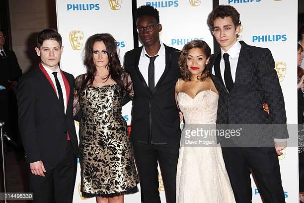 Iwan Rheon Lauren Socha Nathan StewartJarrett Antonia Thomas and Robert Sheehan of Misfits attend The Phillips British Academy Awards 2011 at The...