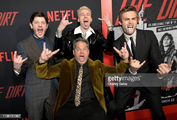 Iwan Rheon Machine Gun Kelly Jeff Tremaine and Douglas Booth attend the premiere of Netflix's 'The Dirt at the Arclight Hollywood on March 18 2019 in...