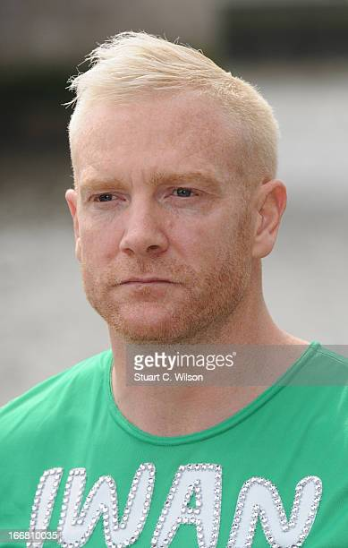 Iwan Thomas attends a photocall ahead of taking part in the Virgin London Marathon at The Tower Hotel on April 17 2013 in London England
