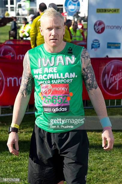 Iwan Thomas poses for photographs ahead of the Virgin London Marathon on April 21 2013 in London England