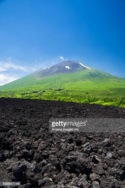 iwate-san and lava - iwate prefecture stock pictures, royalty-free photos & images