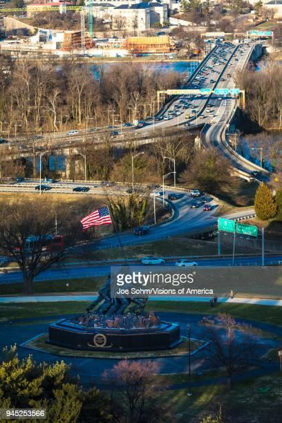 Iwo Jima Memorial for World War II and US Flag Arlington Virginia near Arlington Cemetery
