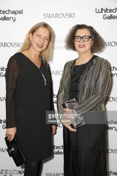 Iwona Blazwick and Mona Hatoum attend a gala dinner to celebrate Mona Hatoum as Whitechapel Gallery Art Icon with Swarovski at Whitechapel Gallery on...