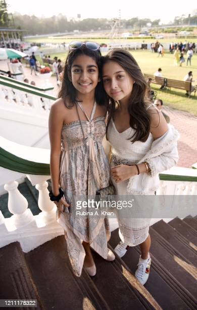 Iyanaah Lawyer and Ella Wadia pose at the CN Wadia Gold Cup 2020 Race Day at the Royal Western India Turf Club on March 08, 2020 in Mumbai, India.